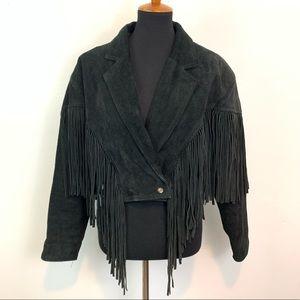 Vintage CHIA Suede Leather Fringe Western Jacket L